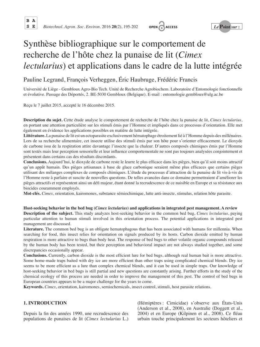 Acto Punaise De Lit Agréable Pdf Interactions Among Carbon Dioxide Heat And Chemical Lures In