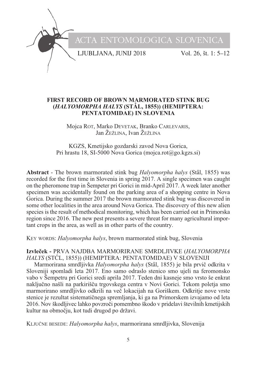 Acto Punaise De Lit Nouveau Pdf First Record Of Brown Marmorated Stink Bug Halyomorpha Halys