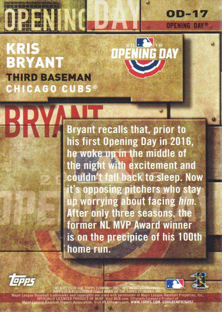 Amazon tour De Lit Génial 2018 topps Baseball Opening Day Insert Od 17 Kris Bryant Chicago