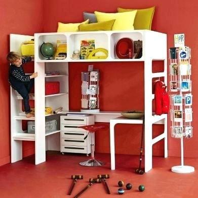 Ampm Lit Enfant Élégant Lit Mezzanine Duplex Lit Mezzanine Metal 1 Place Lit Mezzanine