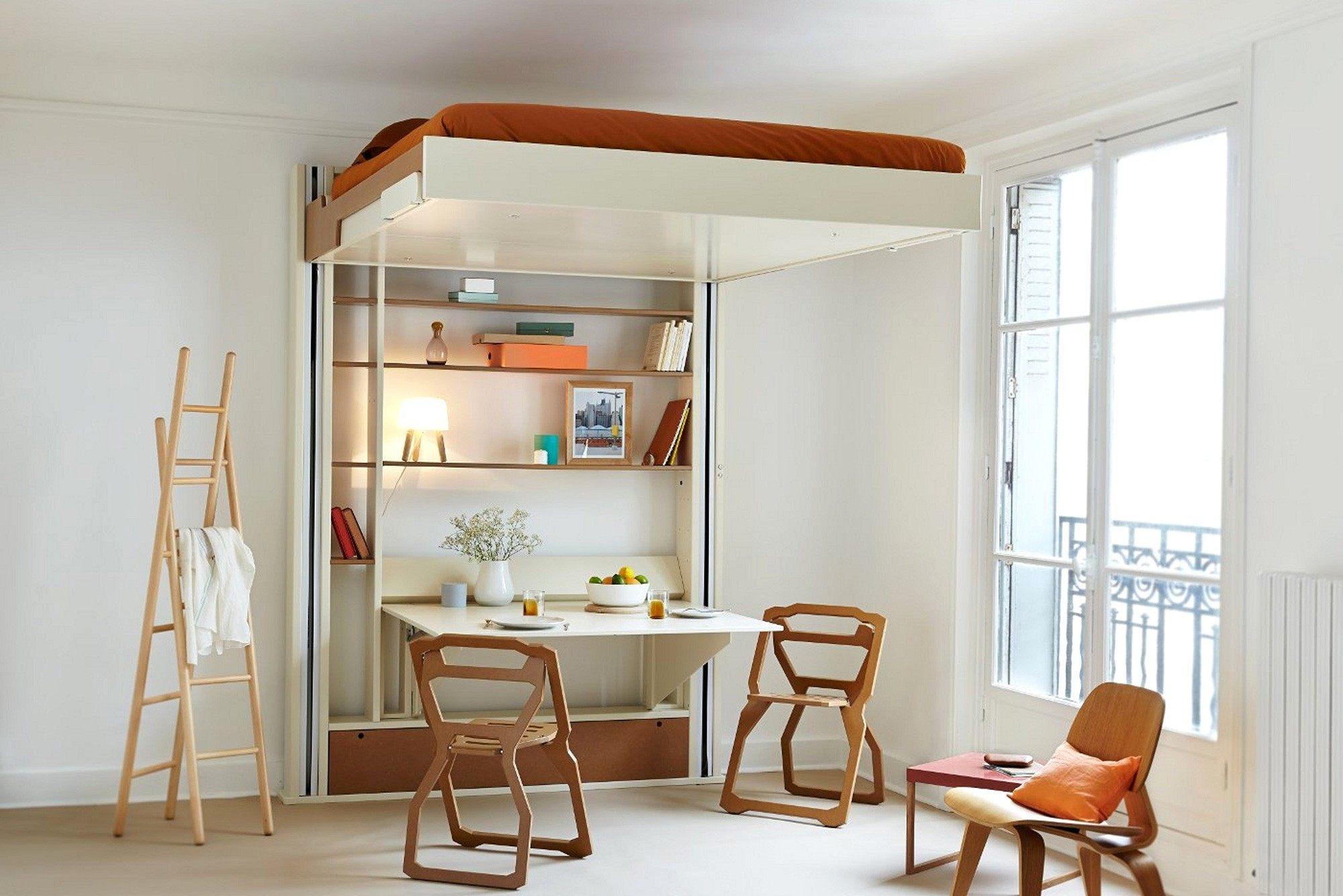 Canapé Convertible Lit Agréable Adorable Lit Canapé Escamotable Avec Bureau Retractable Bureau