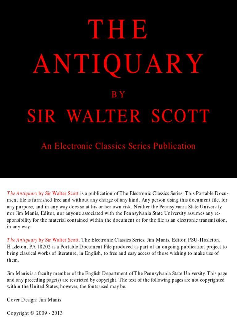 Dejection Punaise De Lit Frais Walter Scott the Antiquary