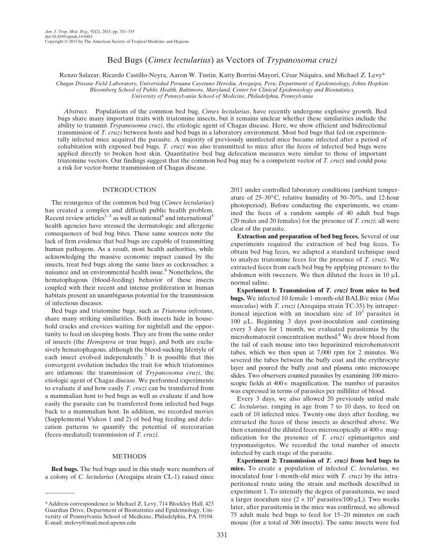 Dejection Punaise De Lit Impressionnant Pdf Bed Bugs Cimex Lectularius as Vectors Of Trypanosoma Cruzi