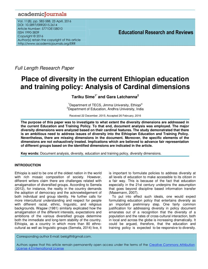 Dimension Lit 1 Place 1 2 Beau Pdf Educational Research and Reviews Place Of Diversity In the