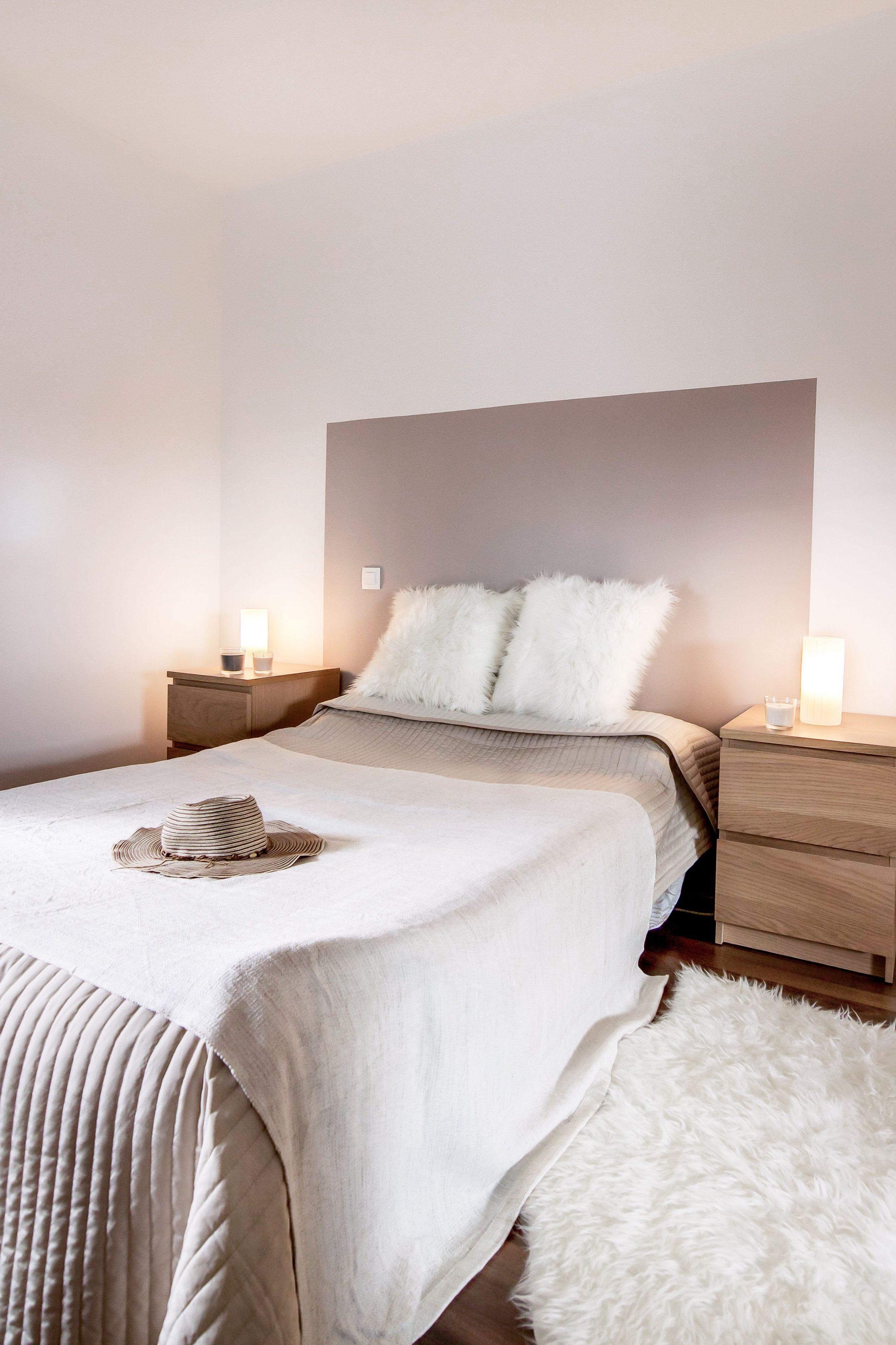Diy Tete De Lit Douce Chambre Decoration Taupe Et Blanc Beige Bois Diy Tete De Lit Grande