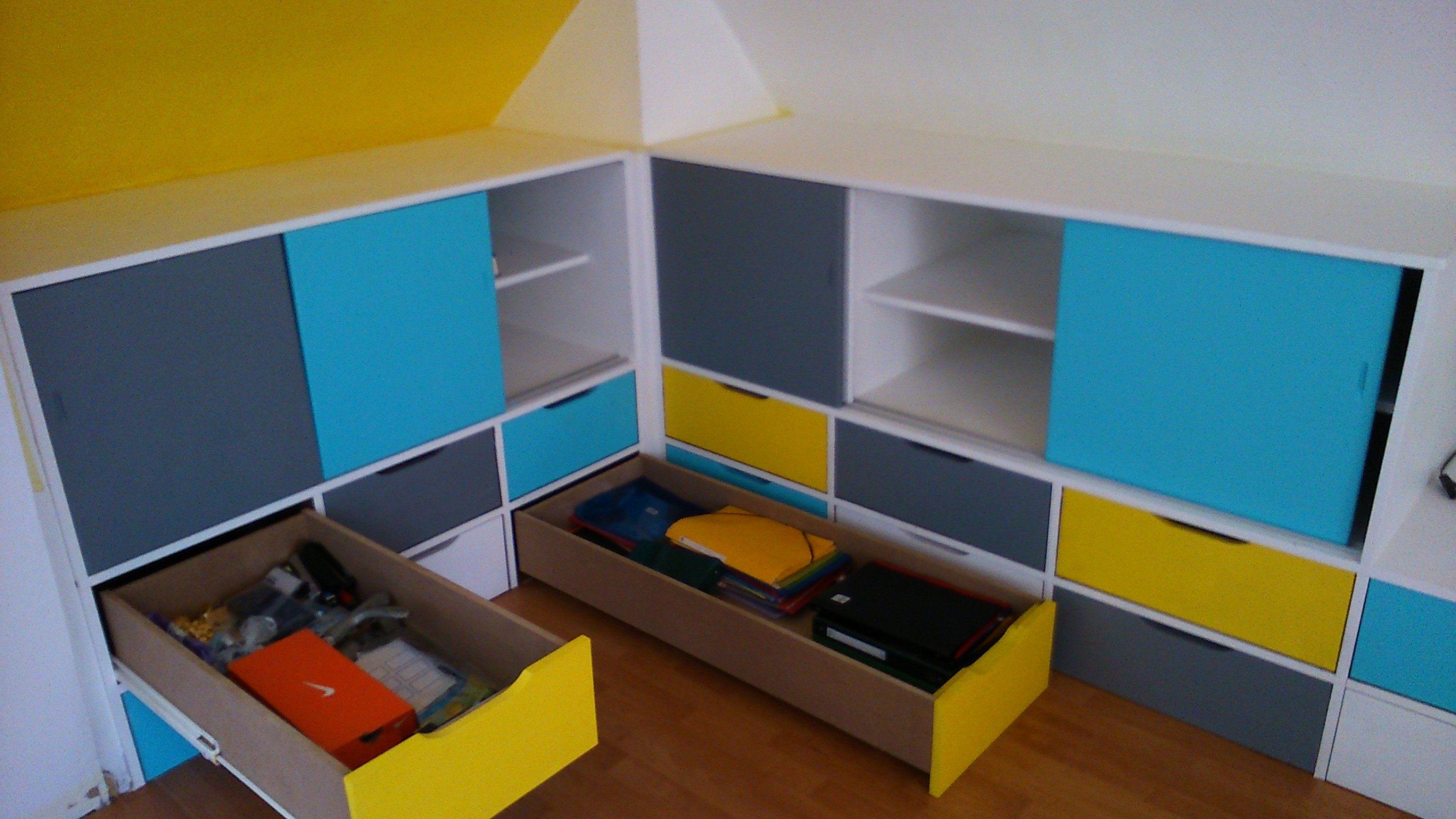 Enfant Lit Fille Agréable Lesmeubles Rangement Chambre Fille — Lesmeubles
