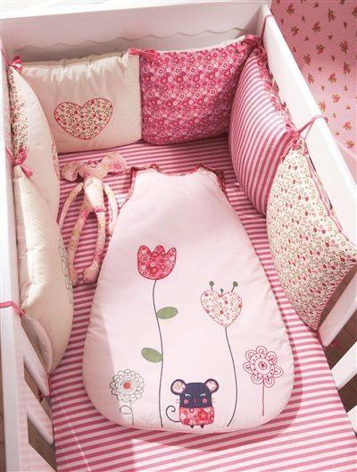 Tour de lit bébé modulable chambre souris zette ROSE MOYEN UNI AVEC