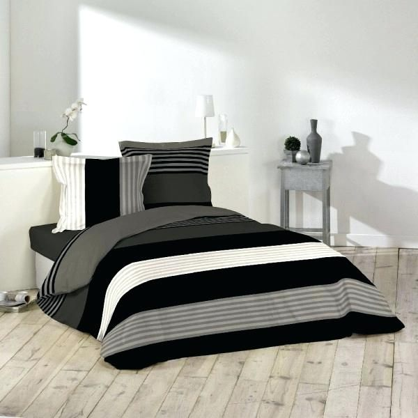 Gifi Parure De Lit Magnifique Linge De Lit Noir Parure Lit 2 Places Rayace Blanc Noir Gris Taupe