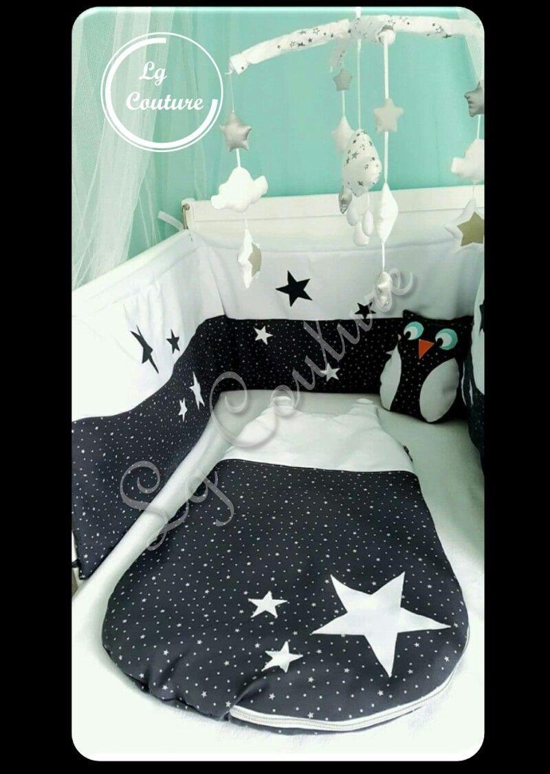 Ensemble cadeaux de naissance tour de lit gris étoilé et blanc