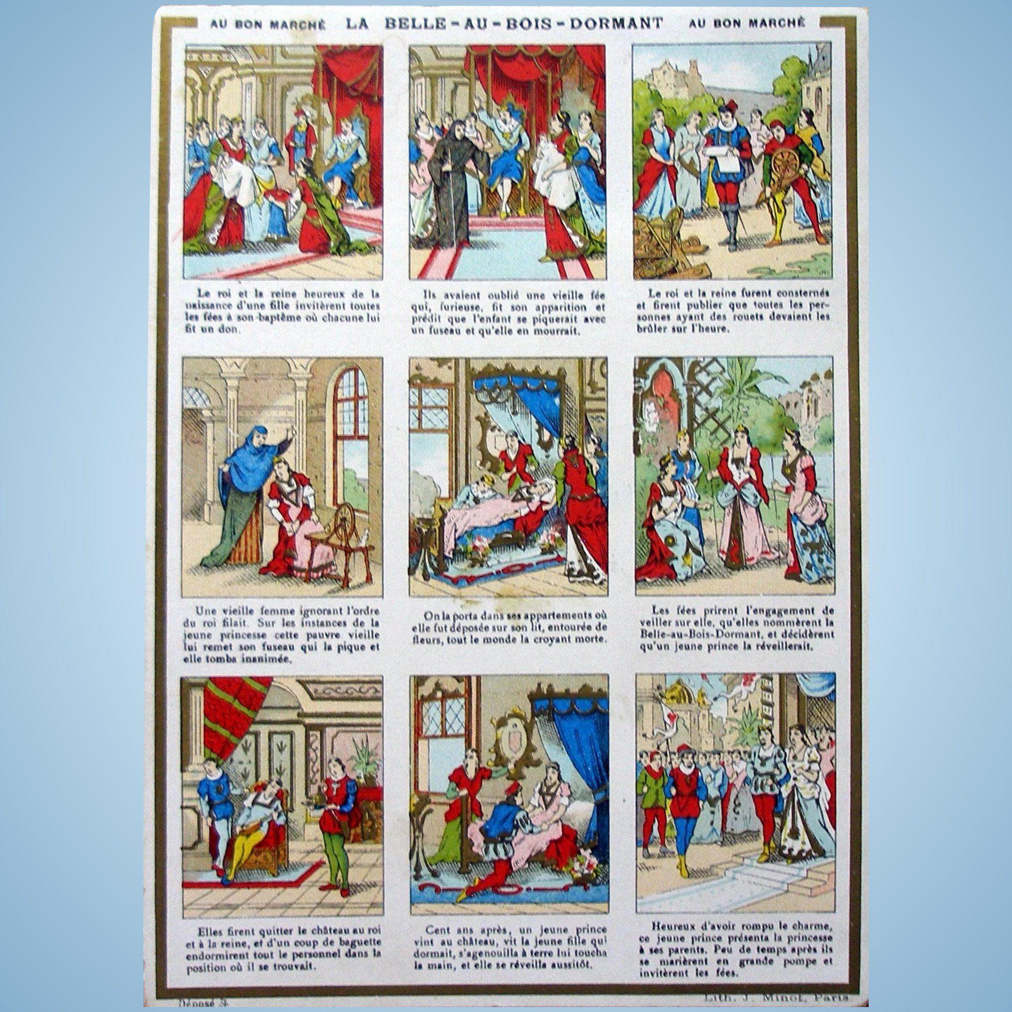 Grand Lit Bebe Magnifique Au Bon Marche Sleeping Beauty Trade Card From France