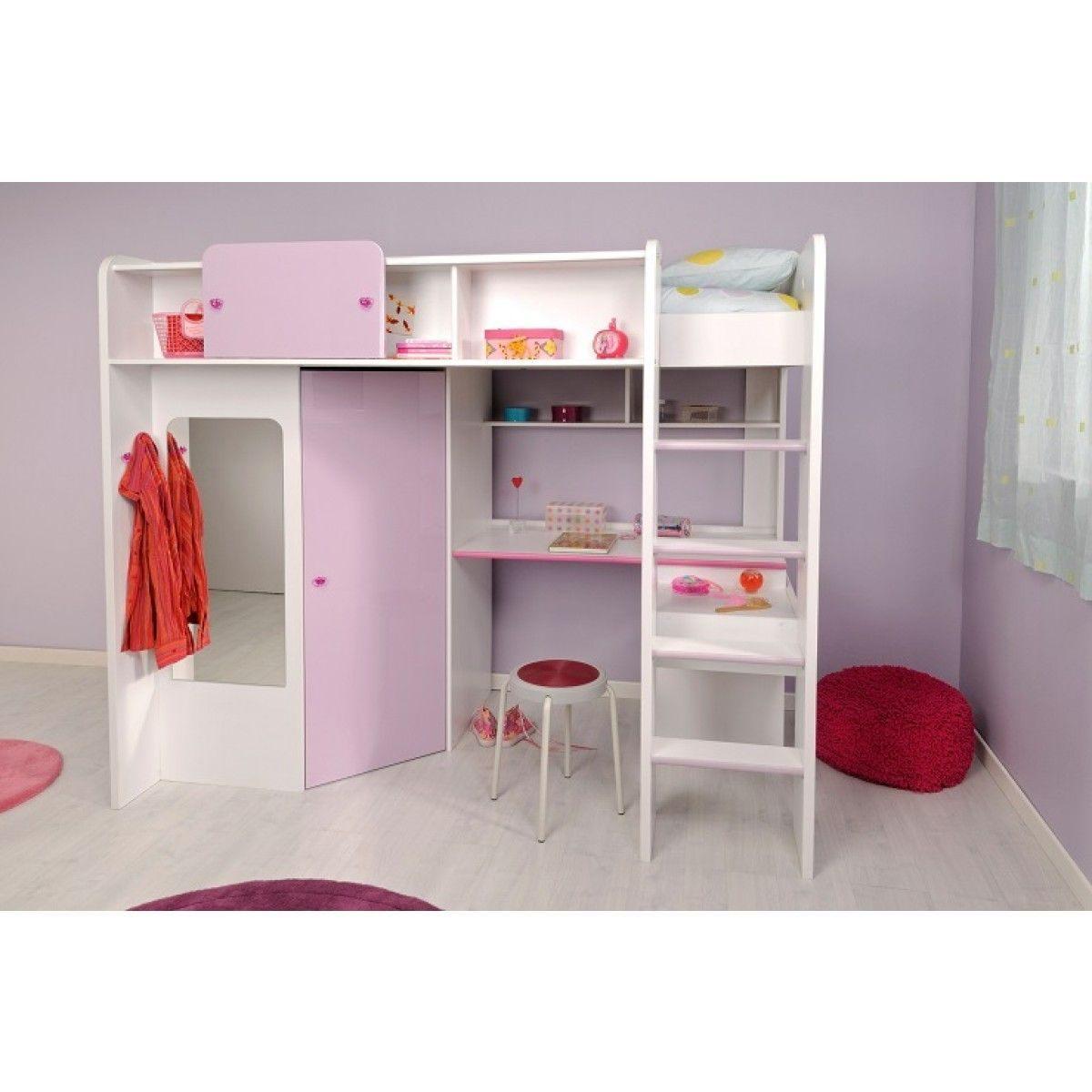 Lit Mezzanine 90x200 en bois MDF revªtu de papier décor blanc meg¨ve