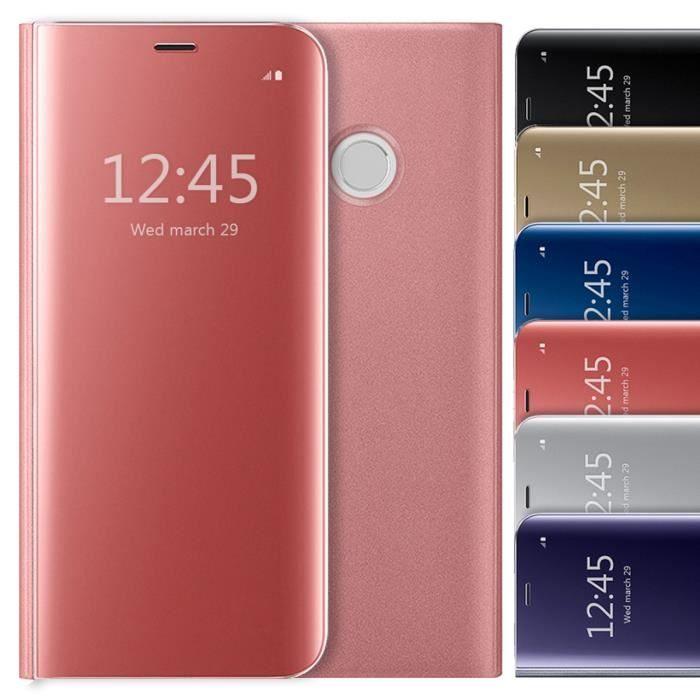 Huawei P8 Lite 2017 Pas Cher Élégant Coque Huawei P8 Lite 2017 Etui  Rabat Clear View Cover Rose
