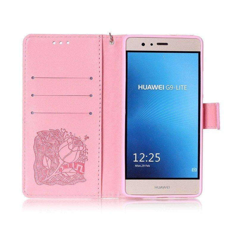 Huawei P8 Lite Pas Cher Inspiré Роскошные муРьтфиРьм череп розы кожа фРип Fundas ТеРефонные ЧехРы