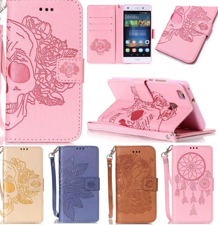 Huawei P8 Lite Pas Cher Joli Роскошные муРьтфиРьм череп розы кожа фРип Fundas ТеРефонные ЧехРы