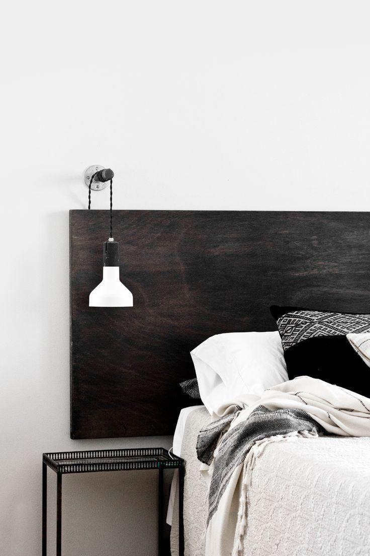 Lampe Tete De Lit Fraîche Bedroom Simple Wooden Headboard Room In 2018