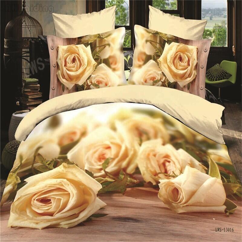 Linge De Lit Coton Magnifique Acheter Papier Rose Fleurs Imprimé Ensemble De Literie 3d Coton