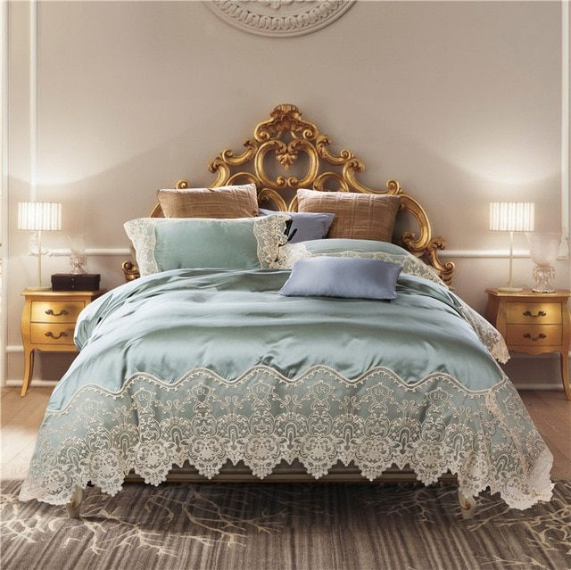 Linge De Lit today Fraîche Blue Golden Luxury Silk Lace Bedding Set King Queen Bed Sheet Set