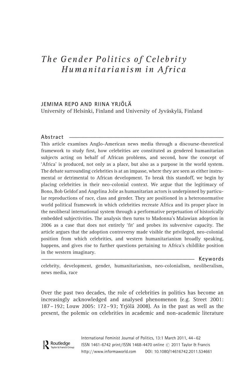 PDF The Gender Politics of Celebrity Humanitarianism in Africa
