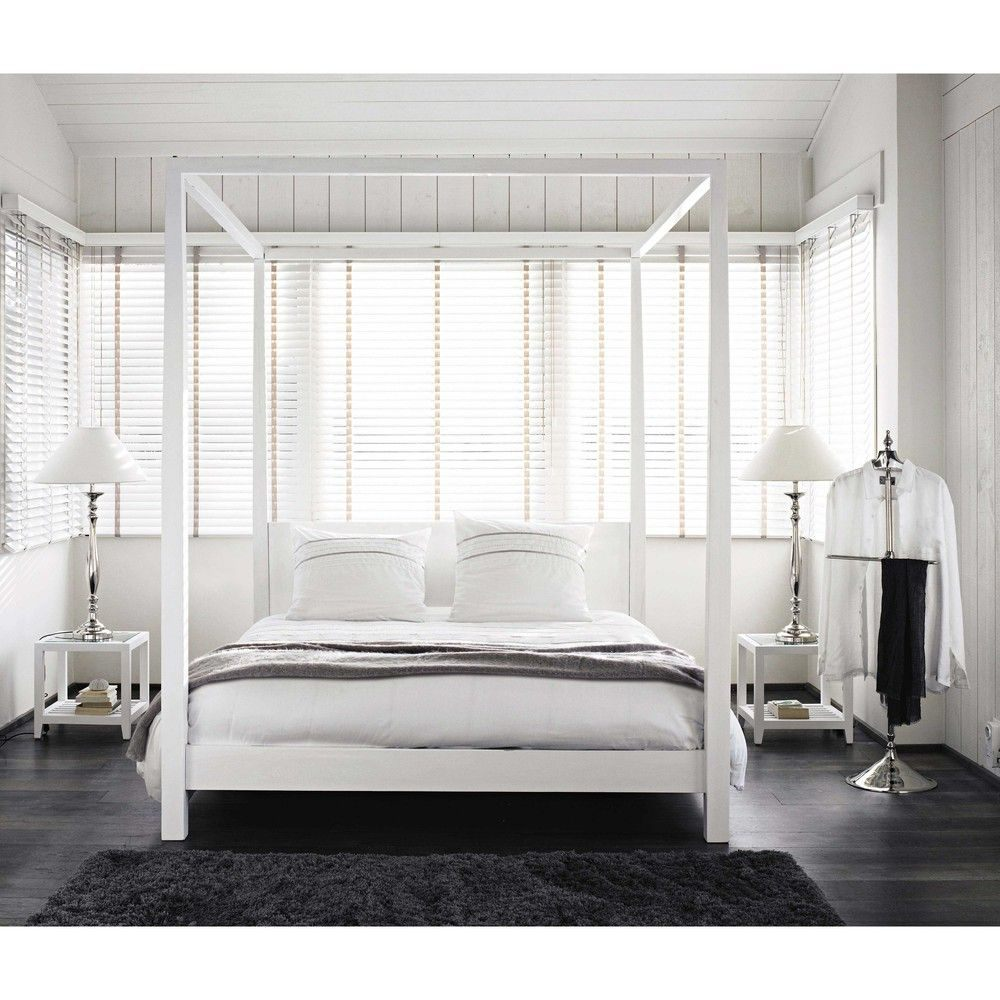 Lit 160×200 Blanc Joli Lit  Baldaquin 160×200 En Pin Blanc Cassé Bedroom