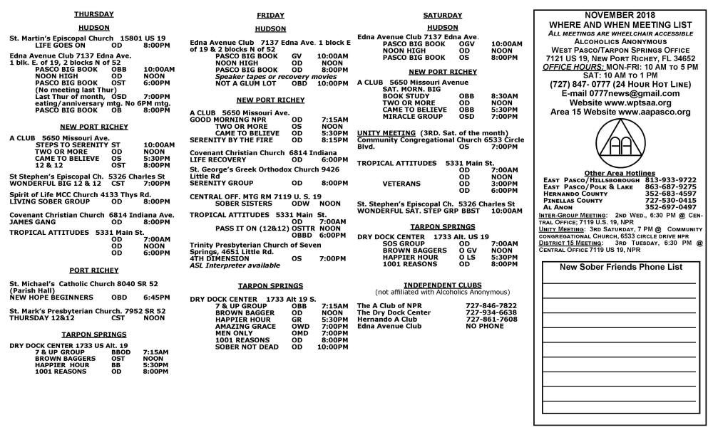 Lit 2 Ans Meilleur De West Pasco Tarpon Springs A A Meeting List