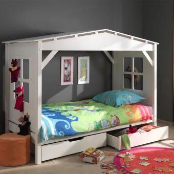 Paris prix lit enfant cabane home & 2 tiroirs de lit blanc Lit