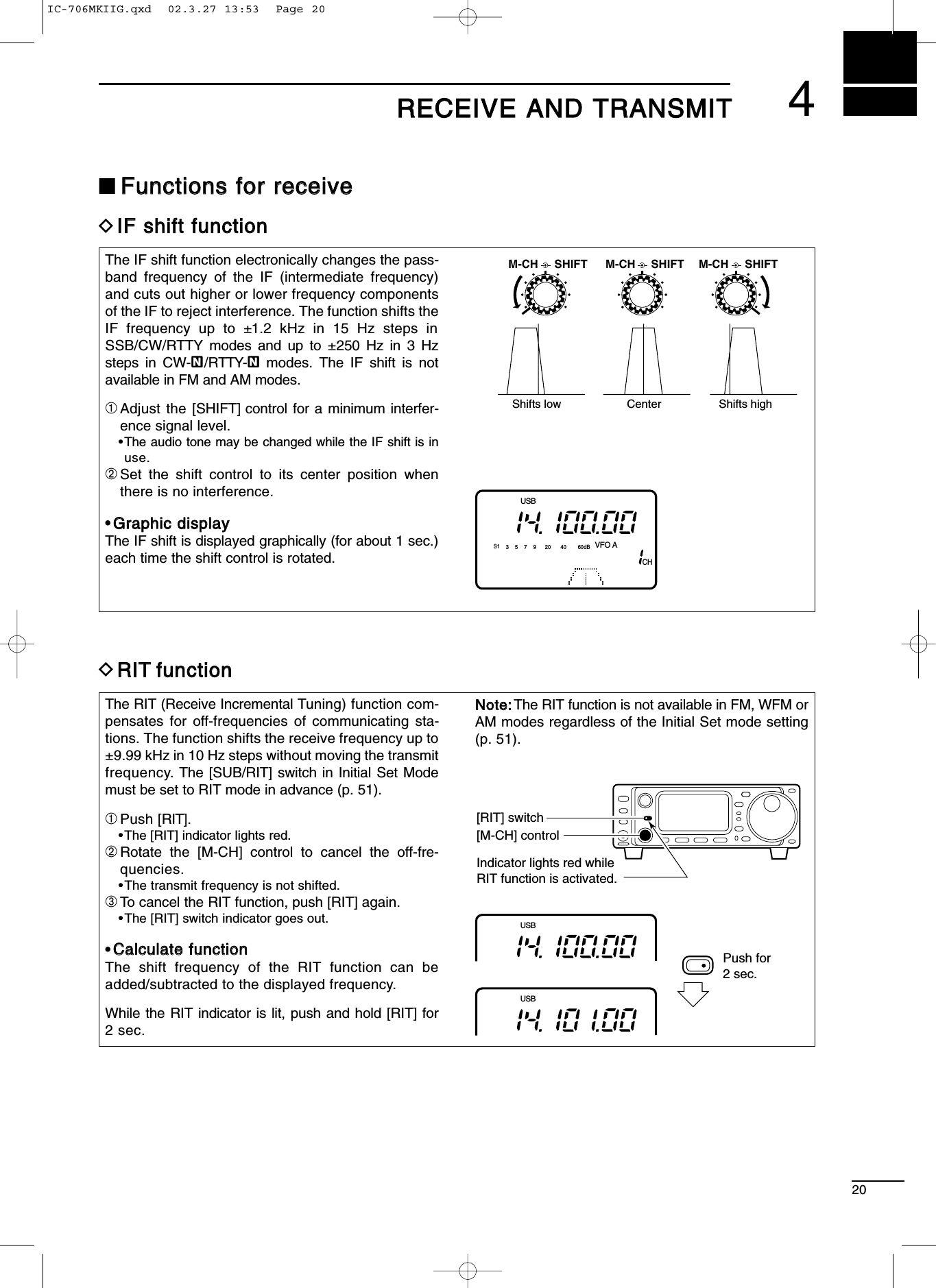 Lit 2 Metre Magnifique Vhf Uhf Amateur Transceiver User Manual Ic 706mkiig