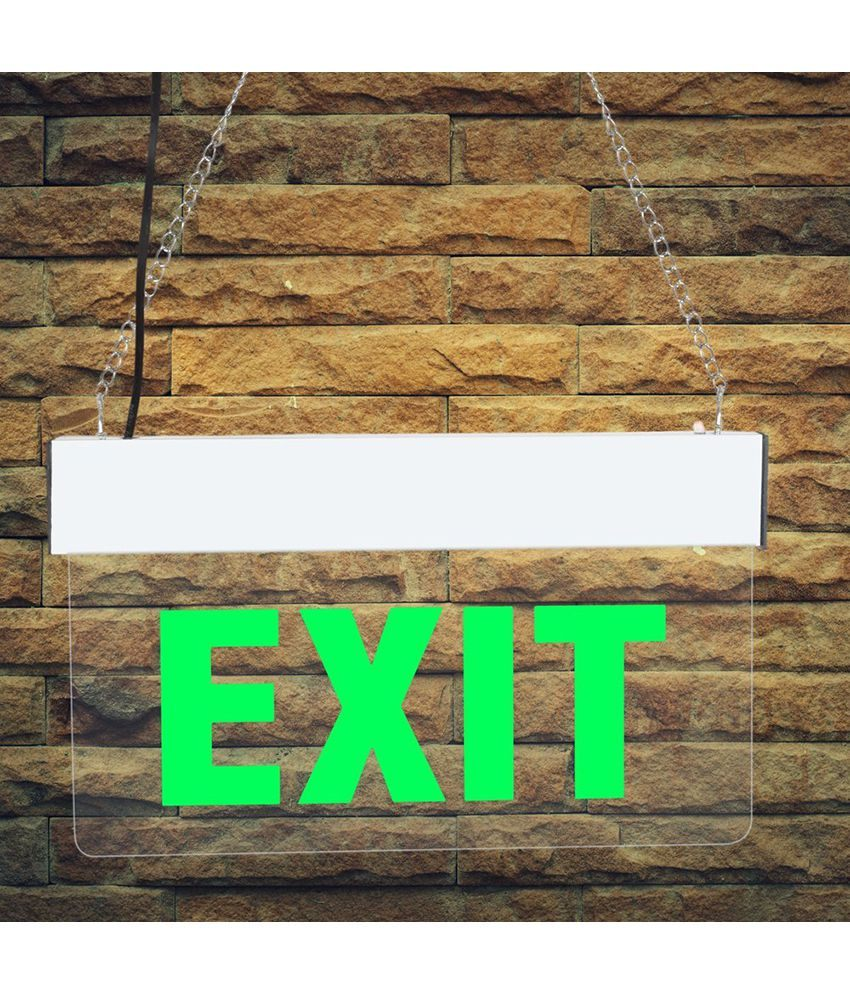 Lit 2 Places Taille Luxe Signageshop Rechargeable Green Led Edge Lit Exit Hanging Sign Board