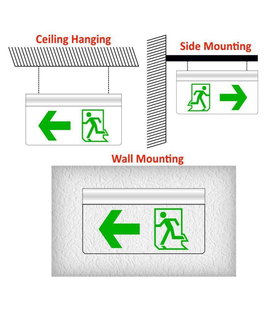 Lit 2 Places Taille Meilleur De Signageshop Rechargeable Green Led Edge Lit Exit Hanging Sign Board
