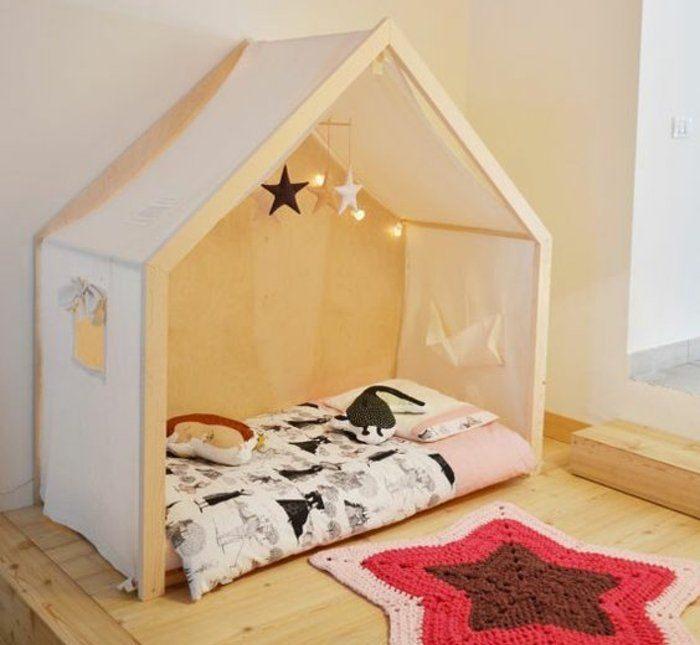 Lit Au sol Enfant De Luxe Lit Maisonnette toile Bois Matelas Mobile Bébé étoiles En Tissu