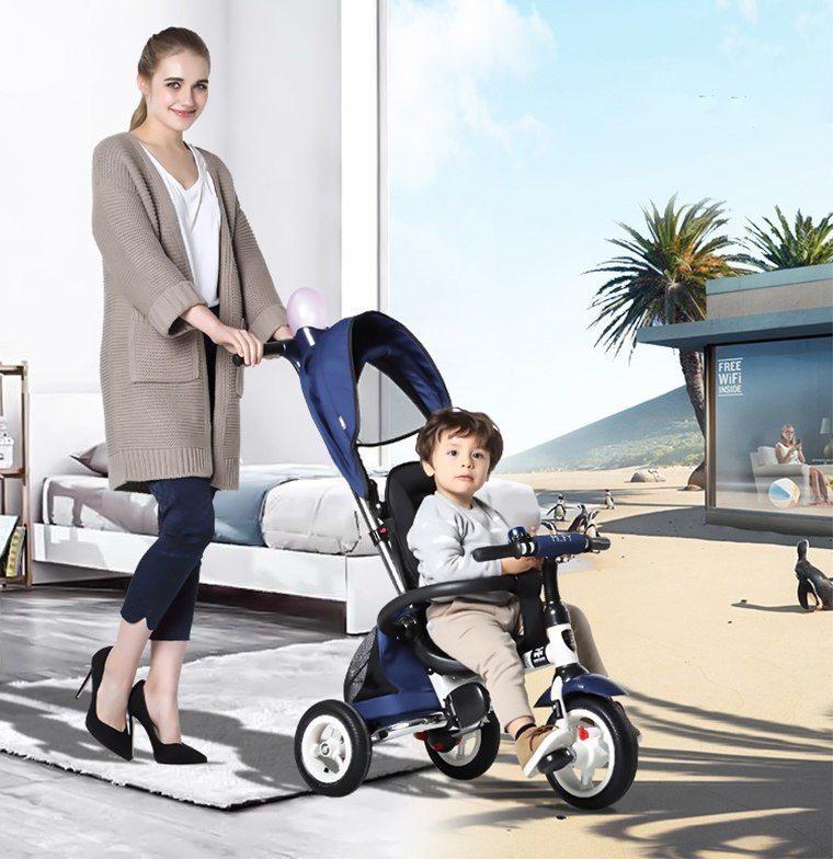 ∞Bébé poussette 3 en 1 Pliant enfants tricycles vélos gonflable