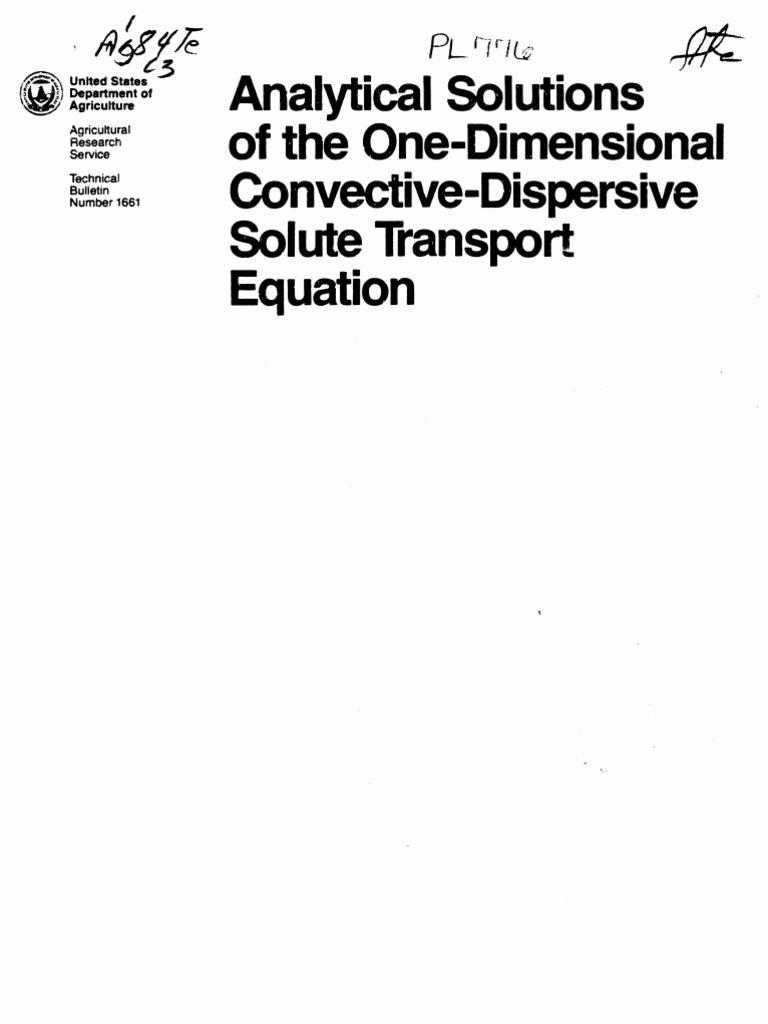 Lit Bébé Bio Joli Analytical solutions Of the E Dimensional Convective Dispersive