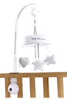 Lit Bebe Blanc Élégant Lit Bébé Lit Mobile Wolke Gouttes De Pluie Arc En Ciel Gris