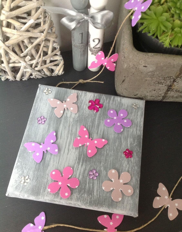 Lit Bebe Gris Génial Cadre Gris Patiné Papillons En Lin Rose Et Parme Décoration Chambre