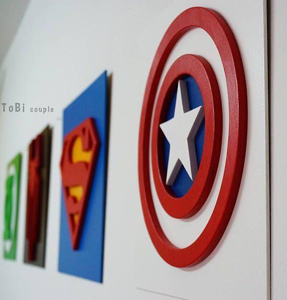 Lit Bebe Promo Fraîche Captain America Superhero Wall Art Kids Bedroom Wall Art