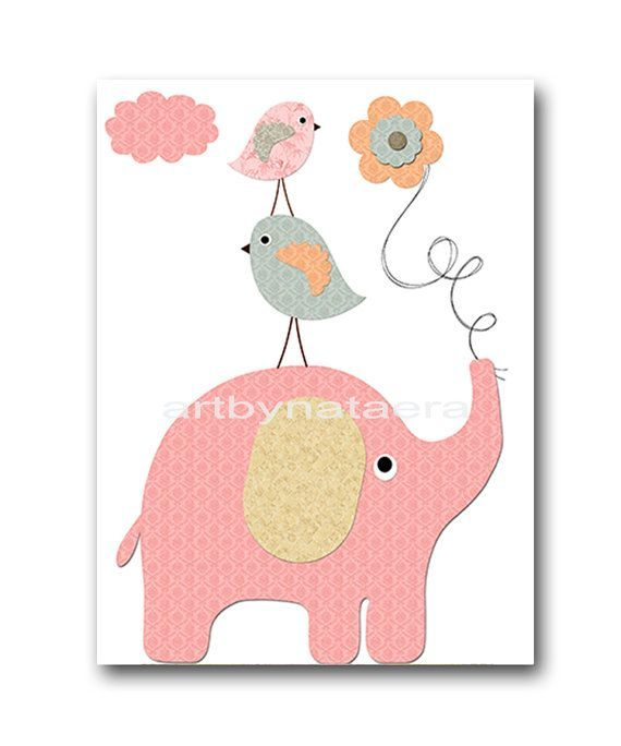 Lit Bebe Rose Beau Kids Wall Art Elephant Nursery Baby Nursery Decor Baby Girl Nursery