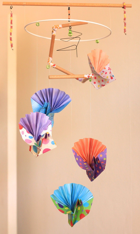 mobile bébé origami suspension en bois chambre enfant bébé oiseau