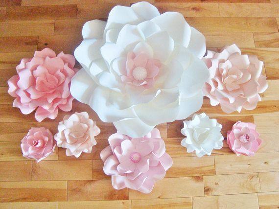 Set of 8 Flowers Paper Flowers Baby Nursery Decor