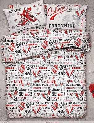 PARURE HOUSSE DE COUETTE Lit 2 places double COLLEGE rouge blanc