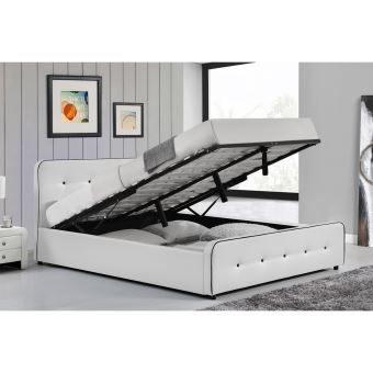 Le Balder Structure de lit capitonnée Blanc avec coffre de