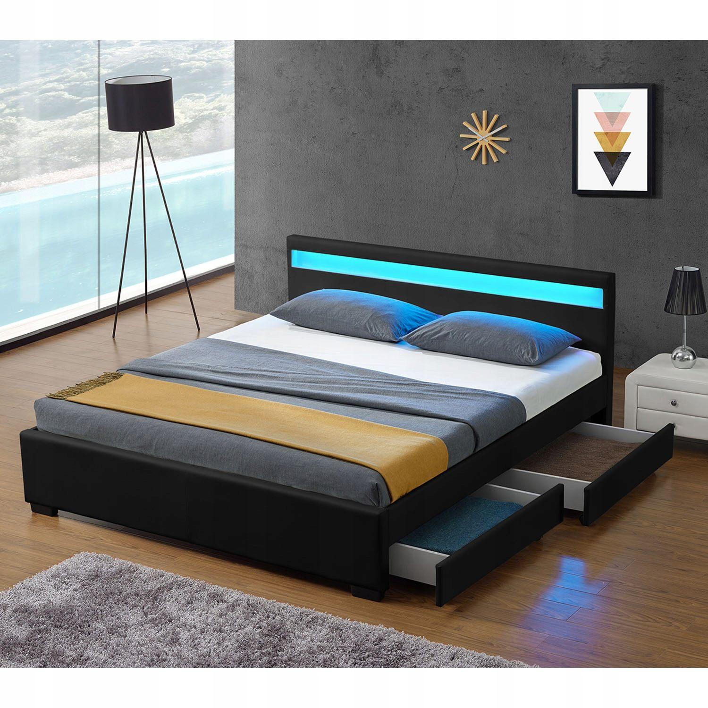 Lit Boxspring 160×200 Unique кровать мягкая Led 160×200 черный ящик