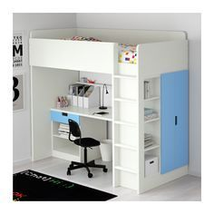 Lit Bureau Ikea Inspiré Stuva Loft Bed with 1 Drawer 2 Doors White Blue Ikea