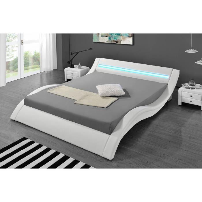 Lit Coffre Groupon Beau Lit 140×200 Cm Similicuir Blanc Avec éclairage Led Pierce Gdegdesign