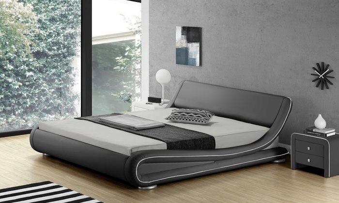 Lit 140x200 Cm Similicuir Blanc Avec éclairage LED Pierce GdeGdesign