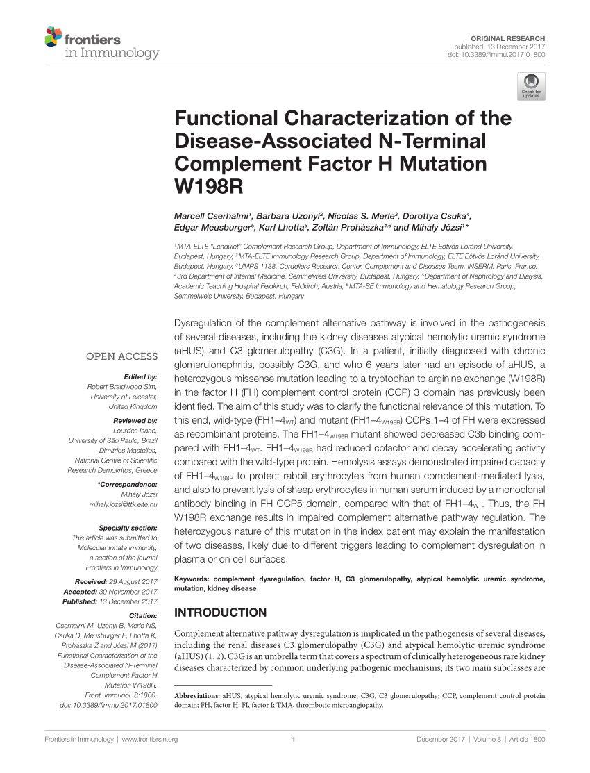 Lit Combiné Enfant Meilleur De Pdf Overall Neutralization Of Plement Factor H by Autoantibo S