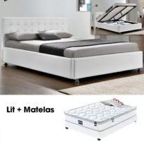 Lit Complet 160×200 Impressionnant Lit Plet Capitole Matelas Romance 140 Blanc