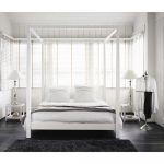 Lit Design 160x200 Unique Lit  Baldaquin 160x200 En Pin Blanc Cassé Bedroom