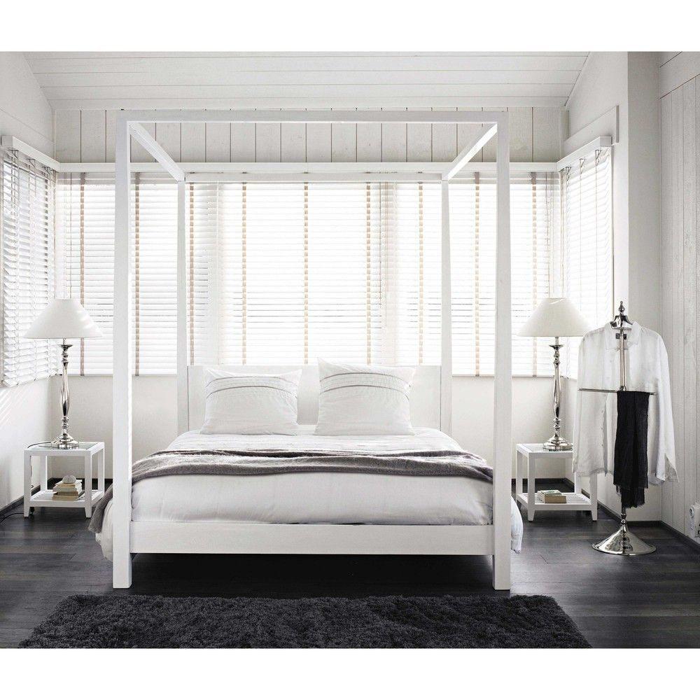 Lit  baldaquin 160x200 en pin blanc cassé Bedroom