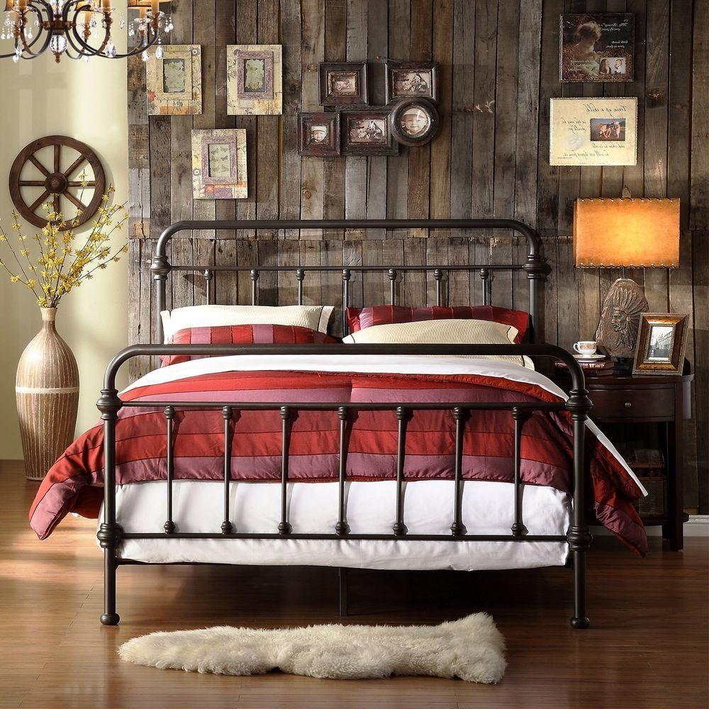 Lit Deux Places Dimensions Beau King Size Metal Bed Antique Victorian Wrought Iron Retro Rustic