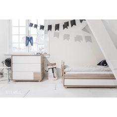 Collection JUNIOR lit enfant 90x200 et bureau blanc et bois