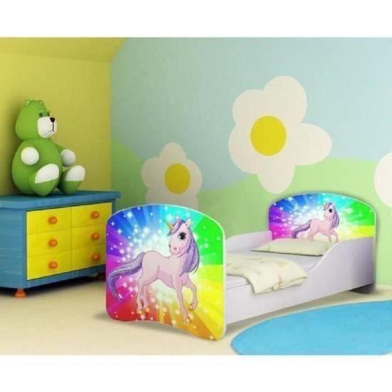 Lit Enfant Avec sommier Meilleur De Matelas 160—80 Inspirant Lit Enfant Motif Multicolore Et Licorne